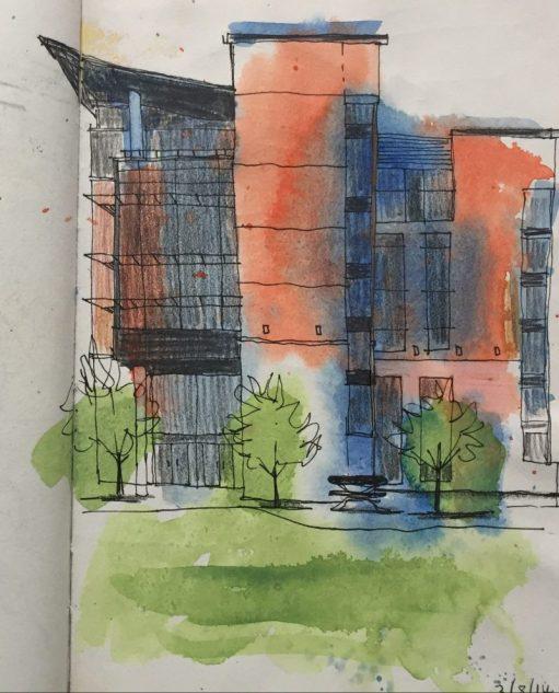 Sheffield in Colour, urban sketch by Sian Hughes