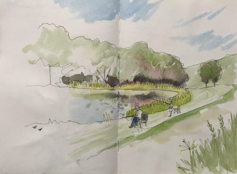 Fly fishing at Barlow fisheries, Derbyshire - sketch by Sian Hughes