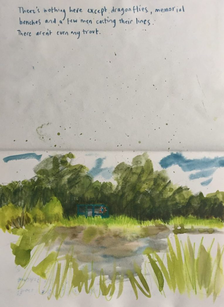 Fly fishing pond at Barlow fisheries, Derbyshire - sketch by Sian Hughes