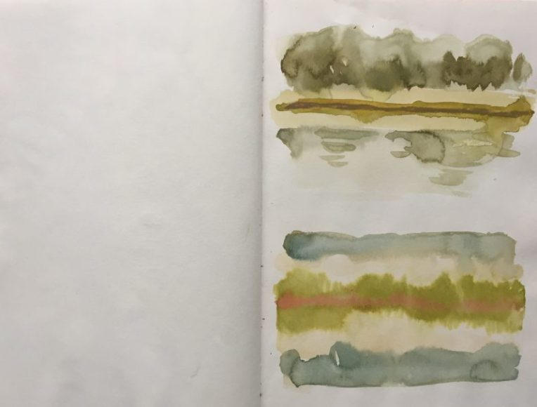 Trout ponds at Barlow fisheries, Derbyshire - sketch by Sian Hughes