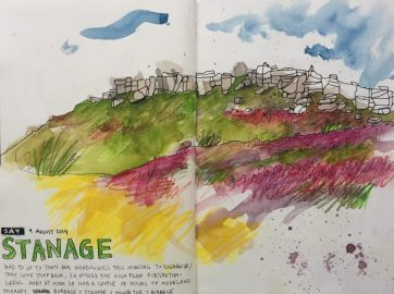Stanage Summer, Peak District landscape painting. Sketch by Sian Hughes