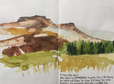 Higger Tor and Carl Wark from Longshaw, Peak District sketch by Sian Hughes