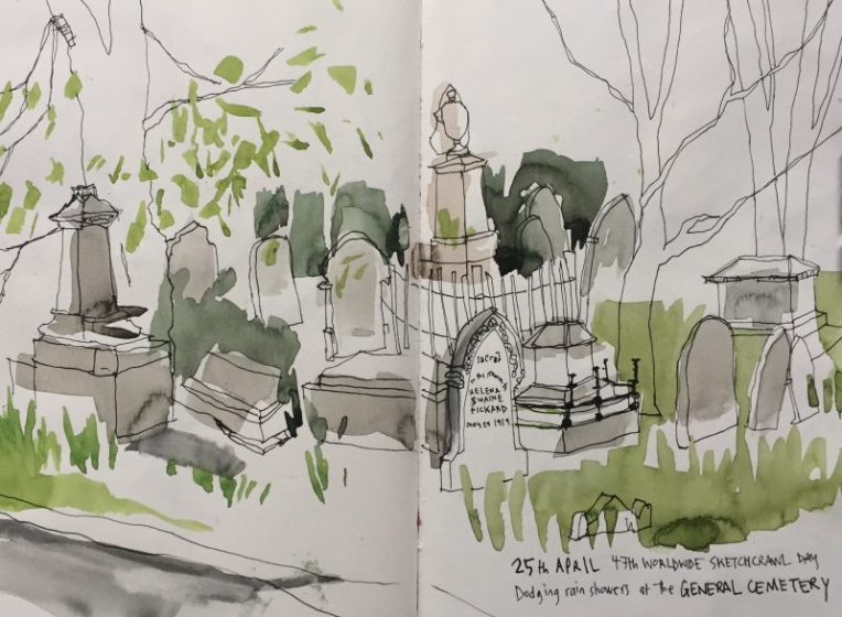 Sheffield General Cemetery, urban sketch by Sian Hughes