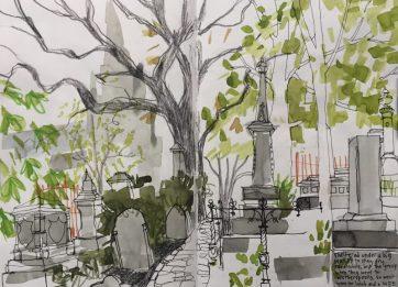 The General Cemetery, Sheffield - urban sketch by Sian Hughes, Urban Sketchers Yorkshire