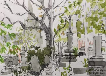 The General Cemetery, Sheffield - urban sketch by Sian Hughes, Urban Sketchers Yorkshire