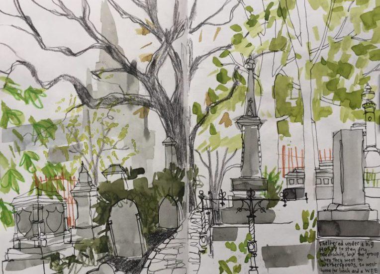 Sheffield General Cemetery, urban sketch by Sian Hughes artist