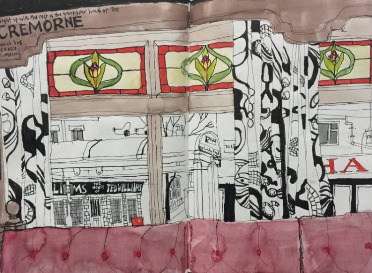 Inside the Cremorne, Sheffield - sketch by Sian Hughes