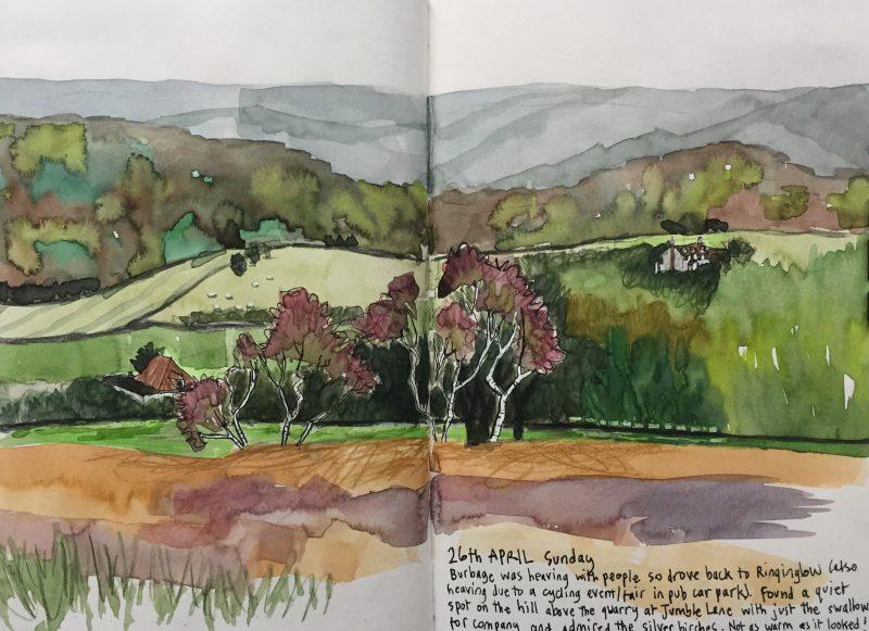 Houndkirk Moor, Sheffield - Peak District sketch by Sian Hughes