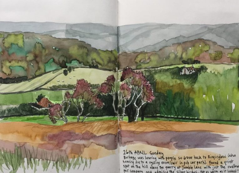 Houndkirk Moor, Sheffield - Peak District sketch by Sian Hughes