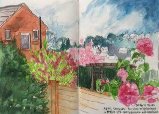 Sheffield garden - original sketch by Sian Hughes