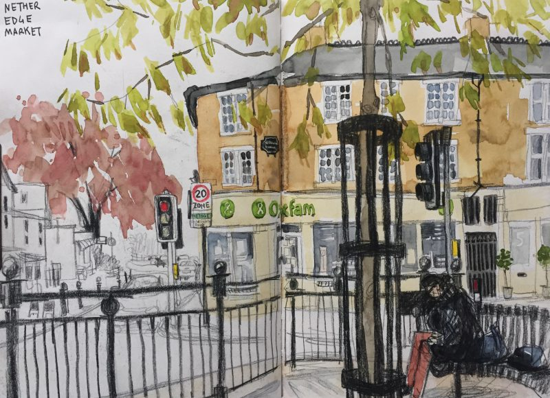 Nether Edge Market, urban sketch by Sheffield artist Sian Hughes