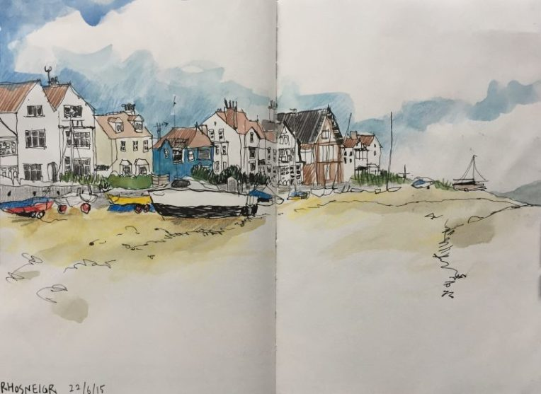 Beach at Rhosneigr - sketch by Sian Hughes