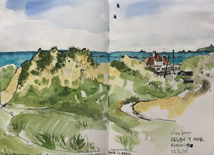 Sand dunes at Rhosneigr, Anglesey - Sketch by Sian Hughes