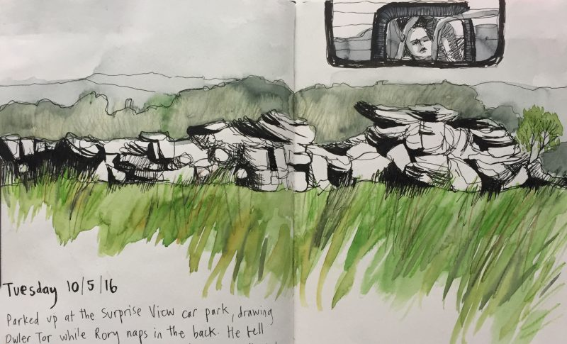 Owler Tor, Longshaw, Peak District - sketch by Sian Hughes
