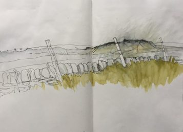 Higger Tor from Wooden Pole, Peak District sketch by Sian Hughes