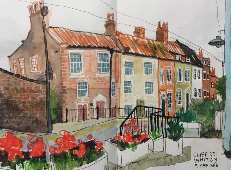 Cliff Street, Whitby - urban sketch by Sian Hughes Art