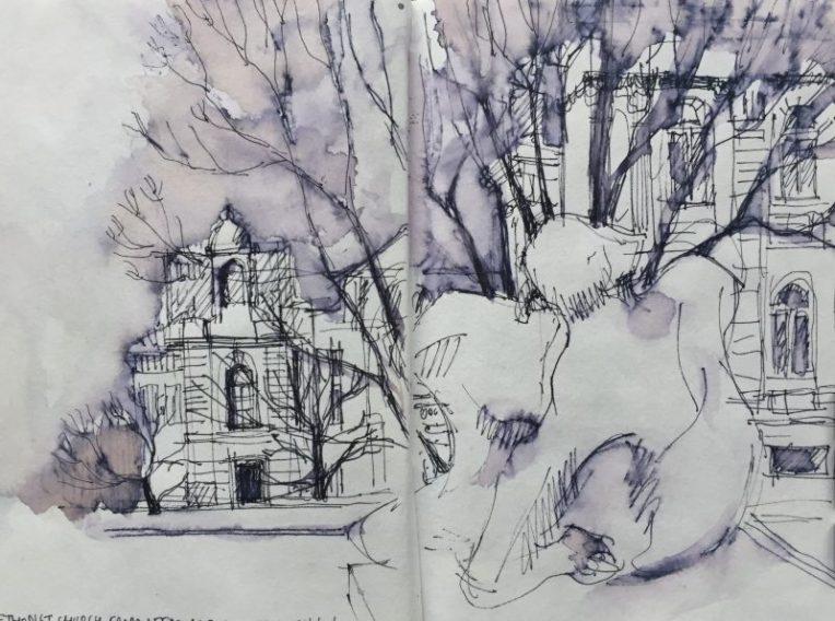 Leeds Methodist Church and Art Gallery - urban sketch by Sian Hughes
