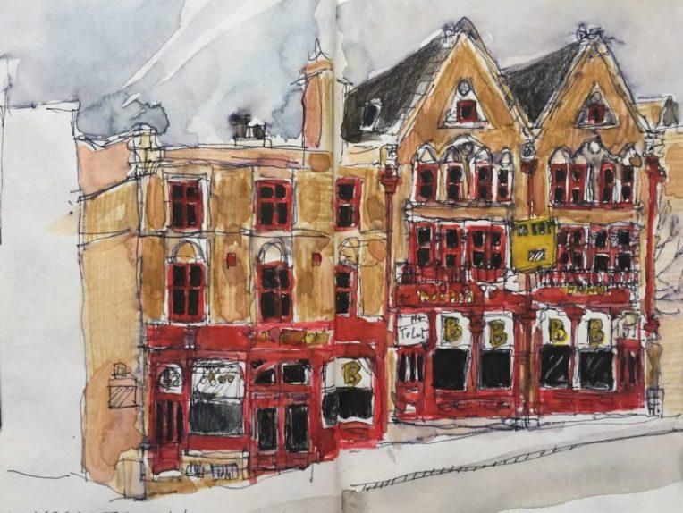 Cookridge Street, Leeds - urban sketch by Sian Hughes