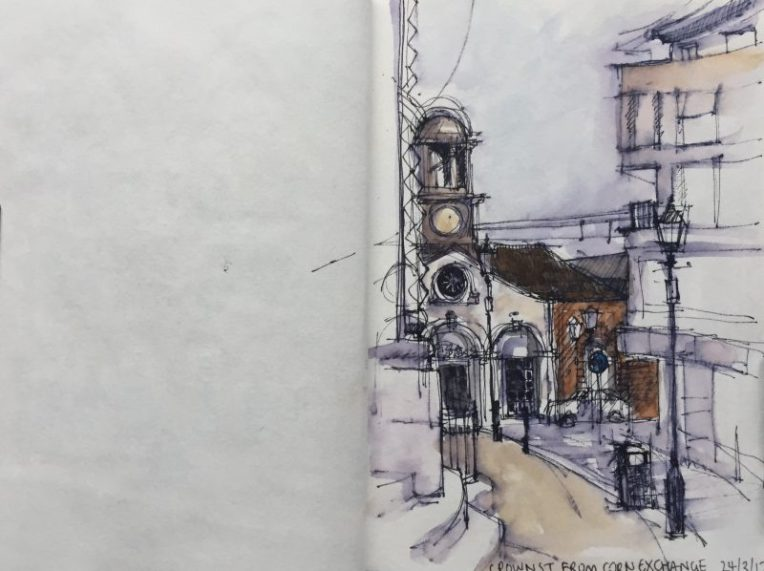 Crown Street from the Corn Exchange, Leeds - urban sketch by Sian Hughes