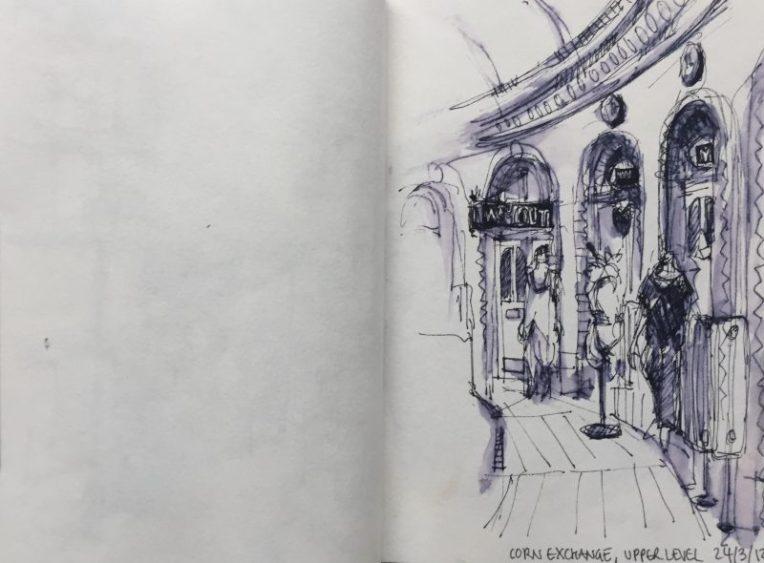 Inside the Corn Exchange, Leeds - urban sketch by Sian Hughes