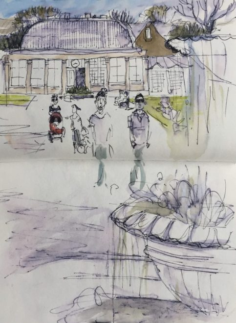 Sheffield Botanical Gardens, ink and watercolour sketch by Sian Hughes