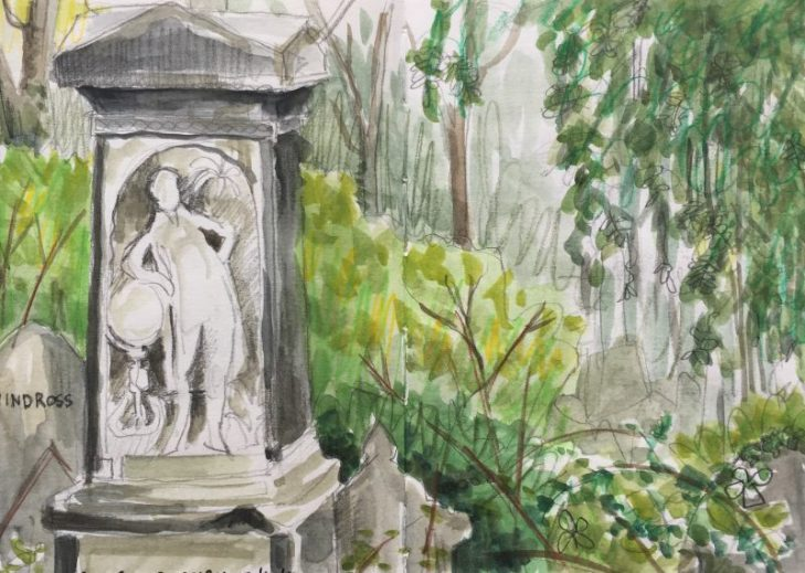 Sheffield General Cemetery monument - original sketch by Sian Hughes artist