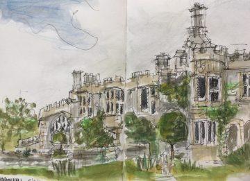 Haddon Hall, Bakewell Derbyshire - sketch by Sian Hughes artist
