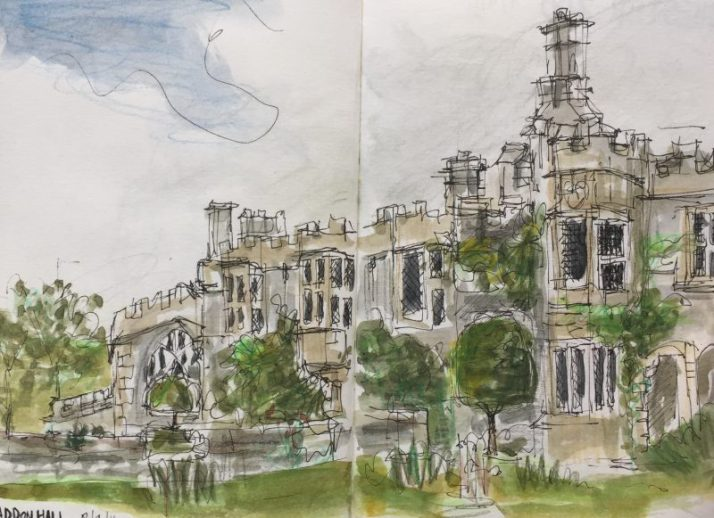 Haddon Hall, Bakewell Derbyshire - sketch by Sian Hughes artist