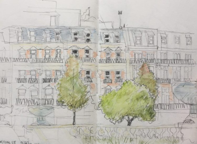 Pinstone Street Sheffield - urban sketch by Sian Hughes art