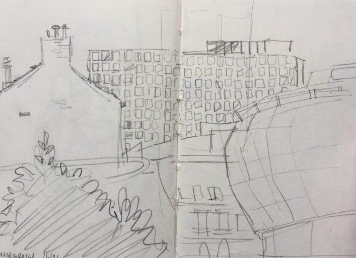 Cheesegrater Eyre Street car park Sheffield - urban sketch by Sian Hughes art