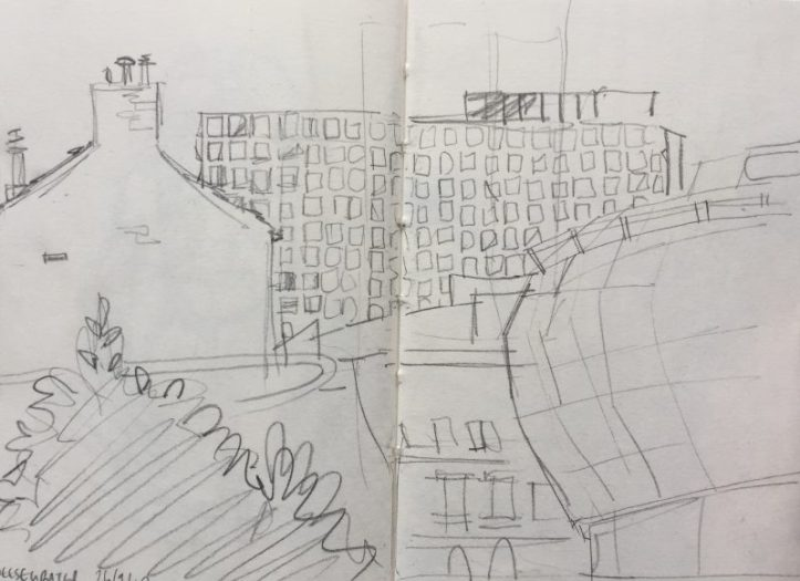 Cheesegrater Eyre Street car park Sheffield - urban sketch by Sian Hughes art