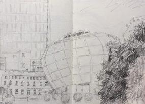 SHU Students Union Building Sheffield - urban sketch by Sian Hughes art