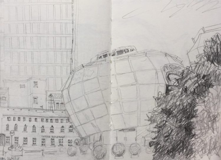 SHU Students Union Building Sheffield - urban sketch by Sian Hughes art