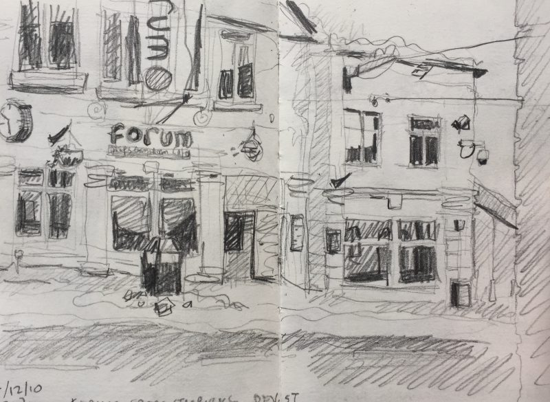 Forum Division Street Sheffield - urban sketch by Sian Hughes art