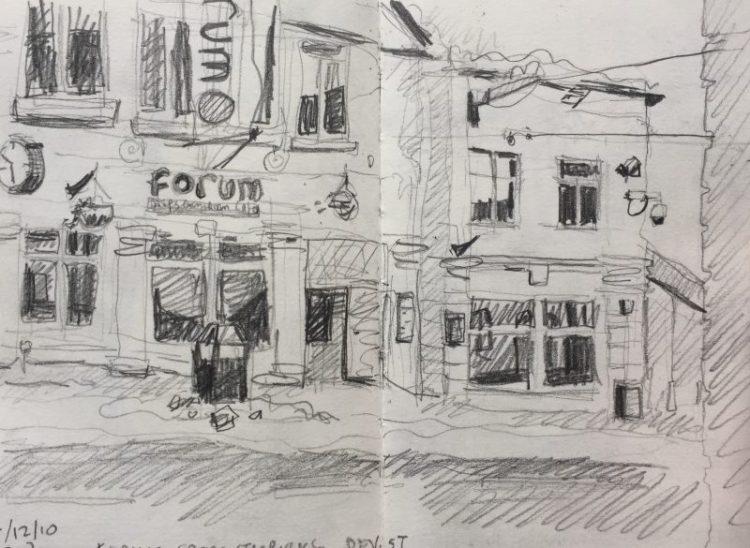 Forum Division Street Sheffield - urban sketch by Sian Hughes art