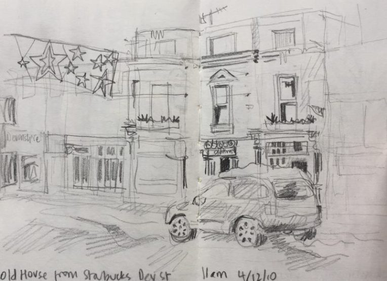 Old House from Devonshire Street Sheffield - urban sketch by Sian Hughes art