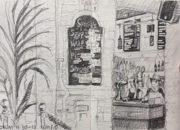 Forum Devonshire Division Street Sheffield - urban sketch by Sian Hughes art