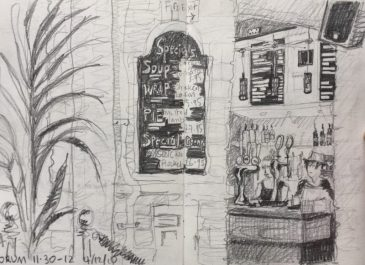 Forum Devonshire Division Street Sheffield - urban sketch by Sian Hughes art
