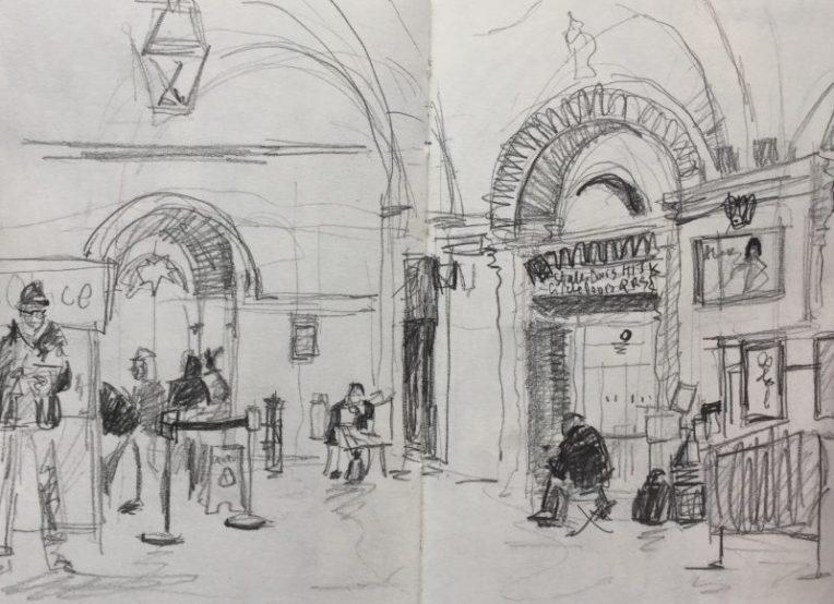 City Hall foyer Sheffield - urban sketch by Sian Hughes art