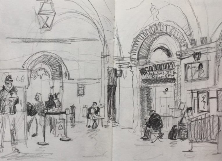 City Hall foyer Sheffield - urban sketch by Sian Hughes art