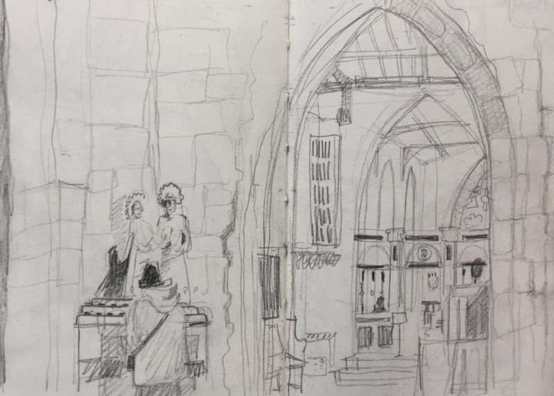 Inside the Cathedral Sheffield - urban sketch by Sian Hughes art