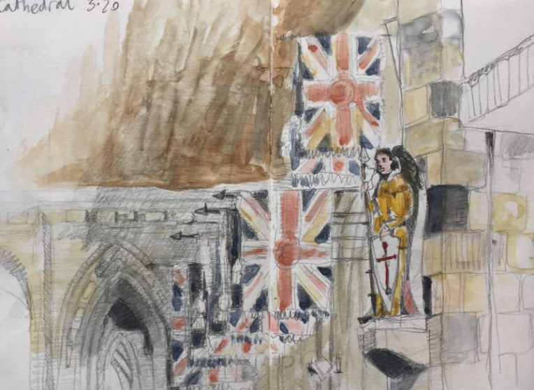 Flags inside the Cathedral Sheffield - urban sketch by Sian Hughes art