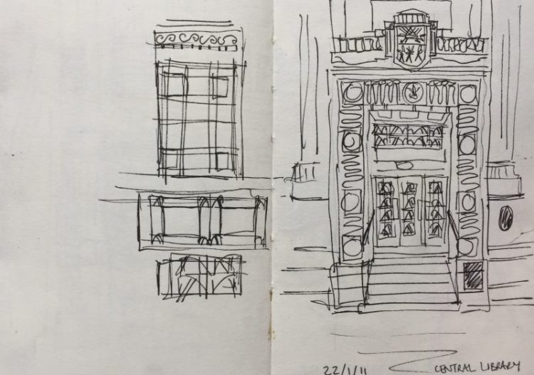 Sheffield Central Library entrance - urban sketch by Sian Hughes art