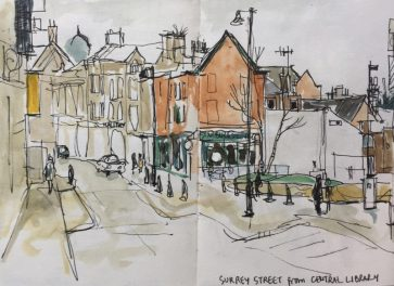 Surrey Street from opposite Central Library - urban sketch by Sian Hughes art