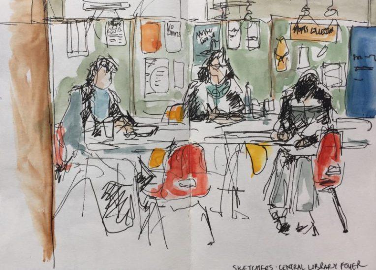 Central Library foyer - urban sketch by Sian Hughes art