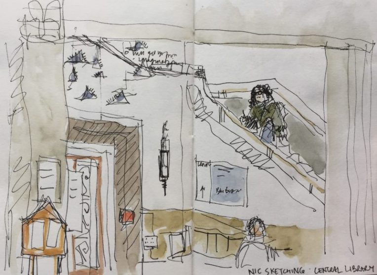 Central Library foyer and stairs - urban sketch by Sian Hughes art