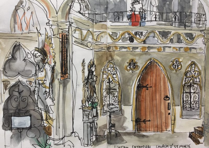 Sheffield Catholic Cathedral, Church of St Marie, Norfolk Row - Urban sketch by Sian Hughes