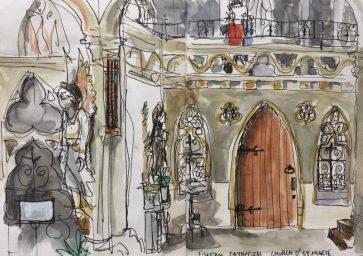 Sheffield Catholic Cathedral, Church of St Marie, Norfolk Row - Urban sketch by Sian Hughes