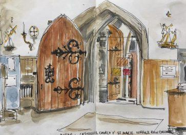 Sheffield Catholic Cathedral, Church of St Marie, Norfolk Row Entrance - Urban sketch by Sian Hughes