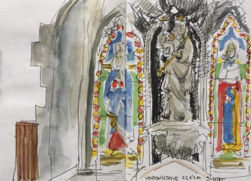 Sheffield Catholic Cathedral Church of St Marie, stained glass - Urban sketch by Sian Hughes
